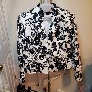 Melanie lyne black and white floral blazer 16